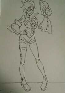 TRACER From OVERWATCH Pencil LINE ART A5 Size