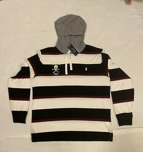 NEW MENS POLO RALPH LAUREN STRIPED COTTON HOODIE SKULL LIGHTWEIGHT SIZE LARGE
