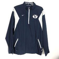 Nike Mens Byu Cougars Dri-Fit Short Sleeve Pullover 1/4 Zip Large Blue Jacket