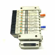 Lot Of 8 Smc Vq1300n 5 Vq1400n 5 Amp Vq1100n 5 Solenoid Valves With Smc Manifold