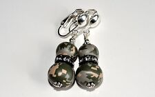 Army Digital Camo Camouflage Earrings 2 Beads Crystal CLIP ON Sterling Silver