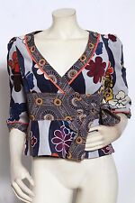 Elevenses ANTHROPOLOGIE Floral Mod Velour Tie Front Jacket Top Sz 2 NWT $118