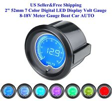 "2"" 52mm 7 Color Digital LED Display Volt Gauge 8-18V Meter Gauge Boat Car AUTO"