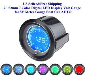"""2"""" 52mm 7 Color Digital LED Display Volt Gauge 8-18V Meter Gauge Boat Car AUTO"""