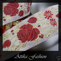 Vintage Woven JACQUARD RIBBON Braid TRIM Floral Embroidery 1m for Edge DIY Craft