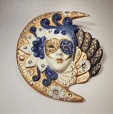 Venezianische Maske-Mond mit Aufhängung  handgemalt  Keramik Venedig Venice Mask