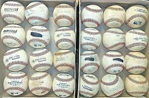 2 dozen used baseballs (all leather, Mostly MLB/MILB baseballs)