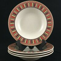 Set of 4 Rim Soup Bowls by Mikasa Intaglio Color Ridge Oven to Table Stoneware