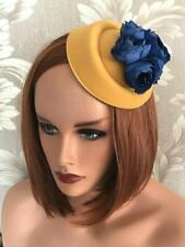Mustard yellow navy blue pillbox hat wedding fascinator horse races Kentucky