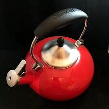 Chantal Candy Apple Red Enamel on Steel Retro Whistling Tea Pot Kettle