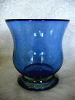 Collectible Cobalt Blue Hand Blown Art Glass Footed Vase - Rough Pontil