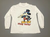 Vintage 80s Disney's Mickey Mouse HOCUS POCUS Wand Long Sleeve T-Shirt Size L