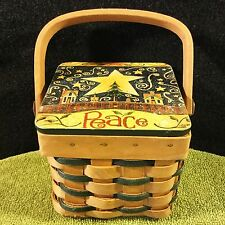 CHRISTMAS Holiday SQUARE Strap Wicker BASKET Hinged Decorative Wooden Top~Handle