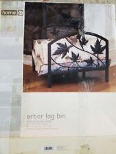 log holder bin, metal,brown finish, leaf pattern, 12x16x14 in, Nib