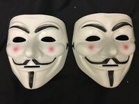 2 X ANONYMOUS V FOR VENDETTA GUY FAWKES HALLOWEEN FACE MASK FANCY DRESS