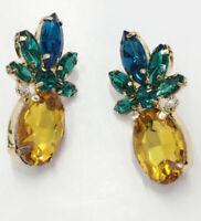 Hot Crystal Ear Drop Dangle Stud Ancient Gold long Tassels Earrings Pineapple