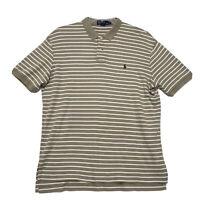 Polo Ralph Lauren Polo Shirt Mens Size L Large Brown Khaki Striped Short Sleeve