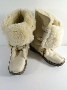 Born Women's Cream Suede Shearling lace Up Mid Calf Boots Sz 7