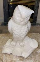"Vintage white Owl Large glazed Ceramic Planter  11x9x4"" heavy sturdy"