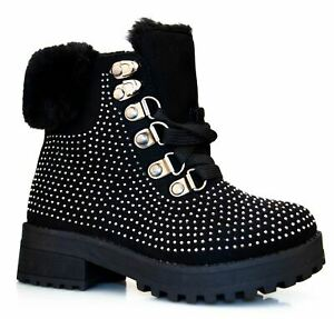Infant Girls Combat Biker Casual Walking Hiking Lace Ankle Boots Shoes Size