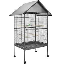 Volière cage à oiseaux sur roulettes perruches perroquets spacieux 168x85x60 cm