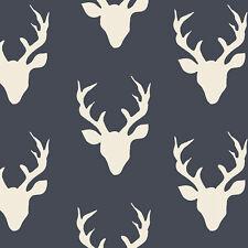 Art Gallery ~ Buck Forest Twilight Blue KNIT Jersey Fabric / dressmaking deer