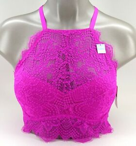 New Victoria's Secret PINK Purple Floral Eyelet Lace High Neck Push Up Bralette