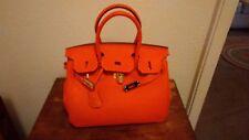 Hermes inspired handbag, orange w/strap