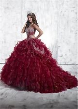 Burgundy Corset Crystals Sweet 16 Ball Quinceanera Dress Prom Pageant Party Gown