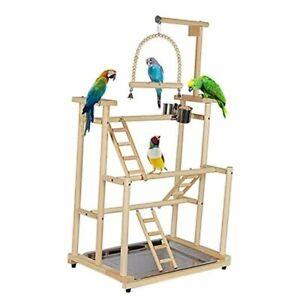 3 Layers Wood Bird Playground Large Parrot Playstand Bird Perch Stand Bird