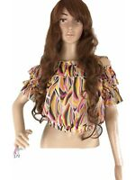 Available USA Womens Top Chiffon Crop Relaxes Off The Shoulder Sheer Mesh Crop S