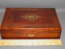 Antique Rosewood Jewelry Trinket keepsake Box Mother of Pearl & Brass Inlay