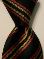 "BRIONI Men's 100% Silk XL 62"" Necktie ITALY Luxury STRIPED Black/Pink/Yellow EUC"
