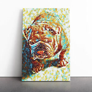 White British Bulldog (3) Framed Canvas Print Wall Art Picture Large Home Decor