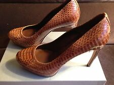 Alexander McQueen Brown Python Snake Skin Platform Pumps Shoes - EUR 37