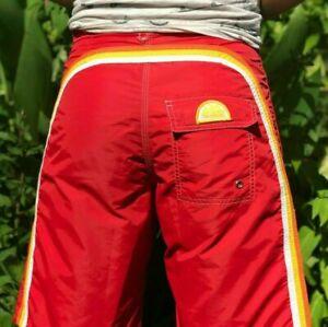 SUNDEK Striped Long Surf Bathing Suit Board  Shorts Swimming Trunks Size 28 S