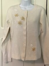 REFERENCE POINT  Womens Sz S Cream Cardigan Sweater Beads Embroidery NEW