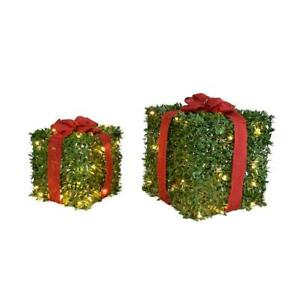 Set Faux Boxwood Topiary Lighted Gift Boxes Christmas Presents Warm White LED