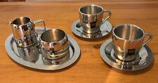 7 teiliges Edelstahl Kaffee Tassen Milch- und Zuckertopf -Set - INOX Cappuccino