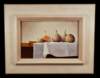 REALISTIC STILL LIFE OIL PAINTING FIGS FRUIT IAN PARKER LISTED ENGLISH ARTIST