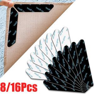 8/16pcs Rug Carpet Gripper Tape Reusable Anti Curling Underlay Non Slip Stick UK