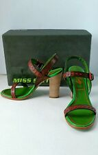 """Miss Sixty Dark Brown Leather Women's Sandals Size 7M 4"""" Heel Buckle Strap Italy"""