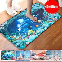 3Pcs/Set Dolphins Bathroom Floor Non-Slip Pedestal Rug+Lid Toilet Cover+Bath Mat