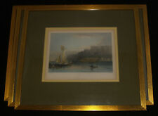 SET ANTIQUE NIAGARA FALLS HUDSON RIVER HAND COLORED ENGRAVINGS PRINT WH BARTLETT