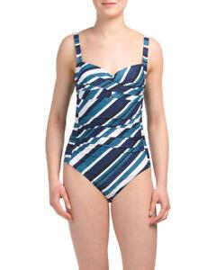 Niptuck, size 6 US, women's blue stripe Joanne one-piece swimsuit, tummy control