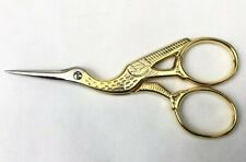 "Vintage HOFFRITZ Stork Crane Bird Gold SCISSORS 3 5/8"" Sewing Emboridery ITALY"