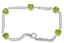 5 Ct Peridot Heart Bezel Bracelet .925 Sterling Silver