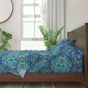 Paisley Blue Fashion Pop Art 100% Cotton Sateen Sheet Set by Roostery