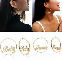Gold Big Baby Earrings Fashion Hip Hop Alloy Letter Lady Hoop Earrings Jewelry