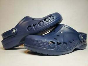 (New Women's) Baya Crocs Clog Sandals Navy Blue Low Top Soft Comfort (10126-410)